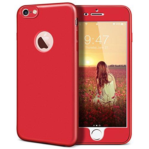 iPhone 6 / iPhone 6S Hülle, Yokata Rose Gold PC Hart Case mit TPU Silikon Weich Bumper Bling Glitzer Transparent Durchsichtig Dünn Case Schutzhülle Protective Cover Rot