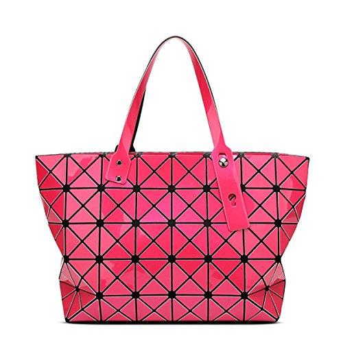 Strawberryer Sacs à bandoulière en cuir femmes Sacs à main géométriques Pliage en sac fourre-tout,rose Red-43*28*10.6cm