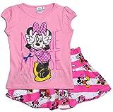 Minnie Mouse Set Kollektion 2017 T-Shirt und Rock 92 98 104 110 116 122 128 Mädchen Bekleidungsset Sommer Maus Disney (122-128, Rosa-Weiß)