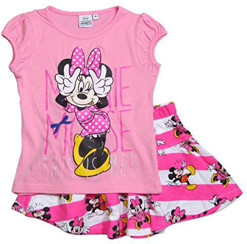 lektion 2017 T-Shirt und Rock 92 98 104 110 116 122 128 Mädchen Bekleidungsset Sommer Neu Maus Disney (110 - 116, Rosa-Weiß) (Minnie Rock)