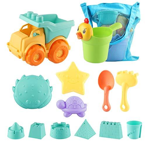 SHANNA Giocattoli da Spiaggia per Bambini, Set da Spiaggia per Bambini con Sabbia, con stampi per Castello e Borsa a Rete Materiale plastico Morbido (Ragazzo 13 Pezzi)