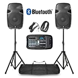 VONYX Portable PA Speaker System MP3 Bluetooth Amplifier Mixer, Mic, Stands DJ Disco