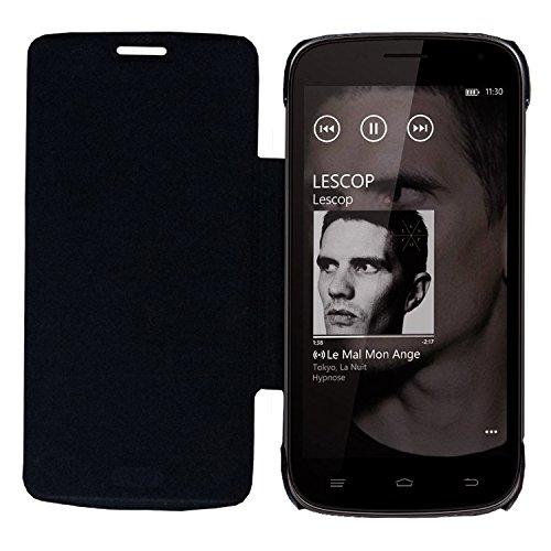 Acm Leather Diary Folio Flip Flap Case For Intex Aqua I5 Octa Mobile Front & Back Cover Black