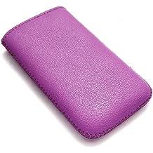 Emartbuy Lila Textured Pu-Leder-Tasche / Case / Sleeve / Halter (Klein) Mit Pull Tab Mechanismus Für Sony Ericsson Zylo