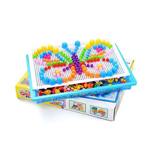 Vektenxi Puzzle Pegboard 296 stücke DIY Pilz Nägel Puzzle Mosaik Pegboard Lernspielzeug für Kinder Kinder Bequem Und Praktisch