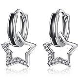 pendientes mujer aros plata de ley 925 con colgantes de pentagram de circonita de crystal, pendientes aro de joyería aretes de moda para mujeres niñas