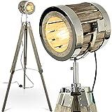 mojoliving MOJO Tripod Industrial Chic Holz Stehlampe Vintage Designer Lampe höhenverstellbar mq-l43
