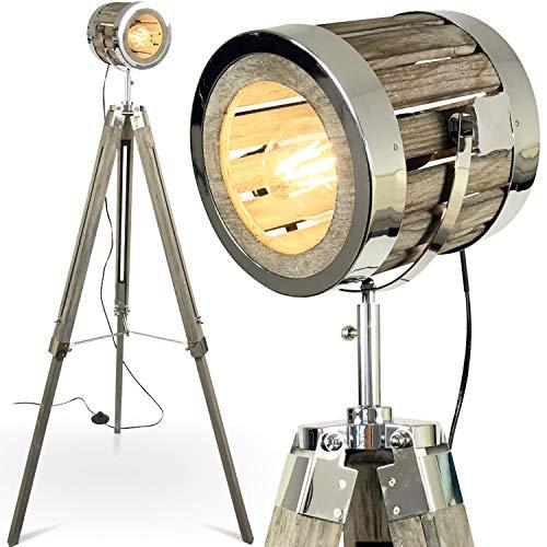 mojoliving MOJO Tripod Industrial Chic Holz Stehlampe Vintage Designer Lampe höhenverstellbar...