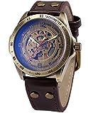 AMPM24- Orologio sportivo con cinturino in pelle, automatico, meccanico, in confezione regalo, colore: marrone