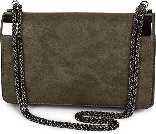 styleBREAKER clutch, borsetta da sera con fermagli metallici e catena scorrevole, design vintage, donna 02012046, colore:Marrone Oliva