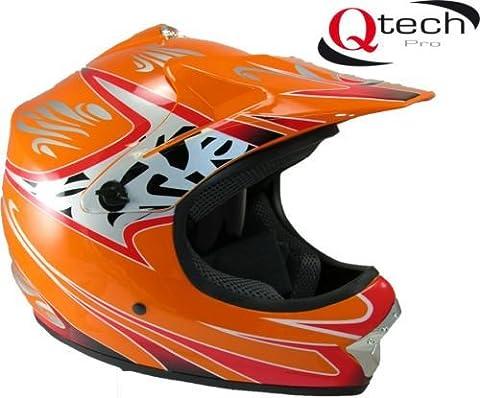 Casque de moto-cross - enfant - Orange - XS (51-52 cm)
