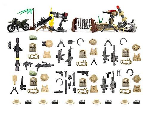 MAGMA BRICK Taktische Weste, Gatling Gun, Waffe, Kriegsausrüstung und Waffen im Desert Battlefield Kompatibel mit Lego