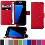 HANDYPELLE Premium Handyhülle für Samsung Galaxy S7 im Bookstyle in Rot