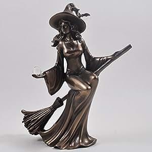 Bronze colour witch riding broom gift ornament figurine - Caras de brujas ...