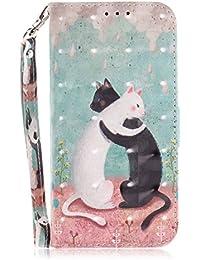 Kucosy Huawei P203D gemaltes Funda Protectora de Piel sintética Piel Schwarz-Weiß-Katze