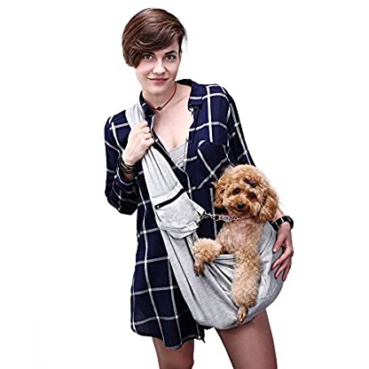 OHANA Pet Reversible Sling Carrier Bag Hands-Free Dog Travel Carrier Bag with Adjustable Strap Double-sided Pouch… 1