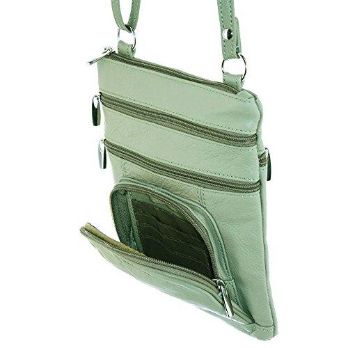 Echtes Leder-Schulter-Runde Tasche überqueren Körper von Silver Fever® Licht Oliven