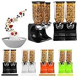 Ballino– Spender aus Kunststoff, für Cornflakes, Müsli oder andere trockene Lebensmittel, durchsichtiger Doppelbehälter, auch für Haustierfutter oder Kaffeebohnen Double Black