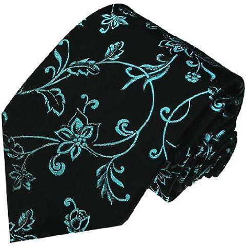 Lorenzo Cana–PREMIUM Designer corbata de seda 100%–Turquesa Verde Negro Floral