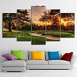 axqisqx Peintures Modulaire Photos Mur Art Toile HD Prints Affiche 5 Pièces Parcours De Golf Arbres Coucher du Soleil Paysage Home Decor Room...
