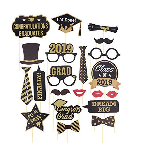Amosfun 2019 Graduation Photo Booth Props Kit Klasse von 2019 Bachelor Cap Schießen Requisiten Graduation Party Favors Supplies Pose Zeichen