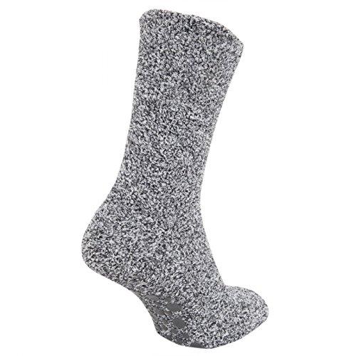 FLOSO - Calcetines Ultra calientes anti-deslizante para andar por casa (39.5-47 EUR/Gris)