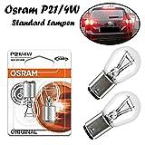 2x Osram Original P21/4W 12V BAZ15d 7225 Standard Weiß High Tech Ersatz Halogen Birne für Bremslicht Hecklicht Nebellicht vorne E-geprüft