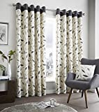 "Charcoal Grey Leaf Trail Readymade Lined Eyelet Ring Top Cotton Curtains 66 "" x 90 "" ( 168 cm Wide x 229 cm Drop ) Approximately"