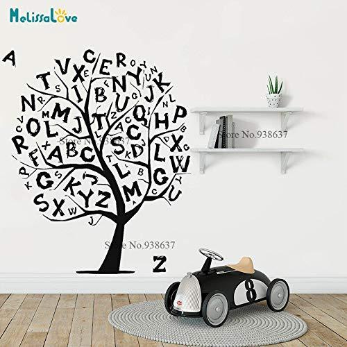 zhuziji Buchstaben Alphabet Text Worte Baby Room Sticker Baumsprache Wanddekoration Wall Decal Vinyl Aufkleber Handmade 50.4x60cm