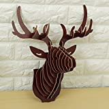 Inovey 3D Holz Elch Head Wall Hanging Craft DIY Modell Tier Wildlife Für Home Decoration - Dunkelbraun