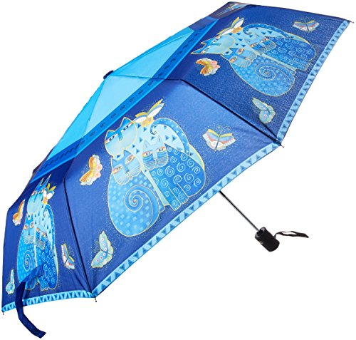 Compact Art Design Kit (Laurel Burch Indigo Katzen' Compact Regenschirm, Blau - Größe: One Size)