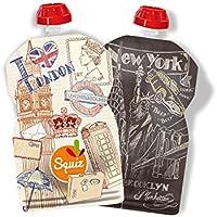 """SQUIZ - lot de 2 Gourdes Réutilisables 130ml""""CITY - London/New York"""" pour compotes et smoothies – FABRICATION SUISSE"""