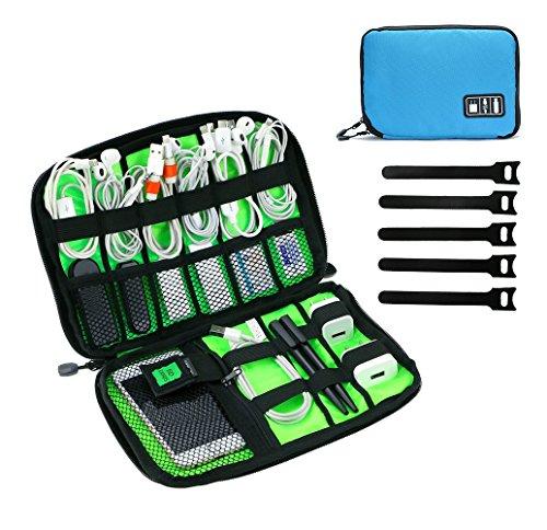 Organizzatore di viaggio JamBer per accessori di elettronica con cavi e maniglia (blu)
