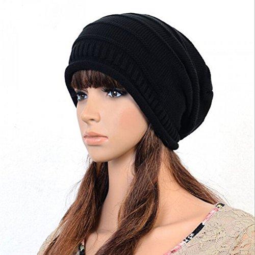 PIXNOR Mode Slouch Beanie gerippt Skull Cap Snowboard Hut Mütze (schwarz) Slouch Hut