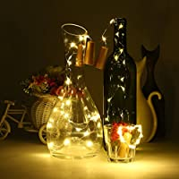 Wine Bottles Cork Lights, ICOCO String Light Copper Wire Lamp 8pcs 15 LEDs Micro Artificial Fairy Lights Battery Powered for Christmas, Wedding, Party, Halloween, Room Decoration by ICOCO