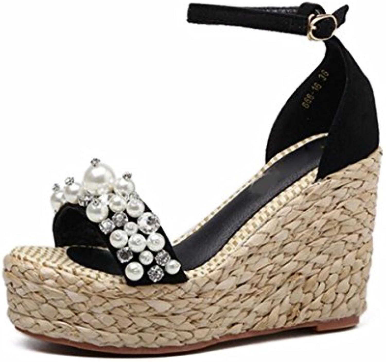 GTVERNH Damenschuhe/Sohle Sandalen Sommer 10 cm High Heels Stroh aus Dicken Boden Wasser Läuft Zehen Wasserdichteö
