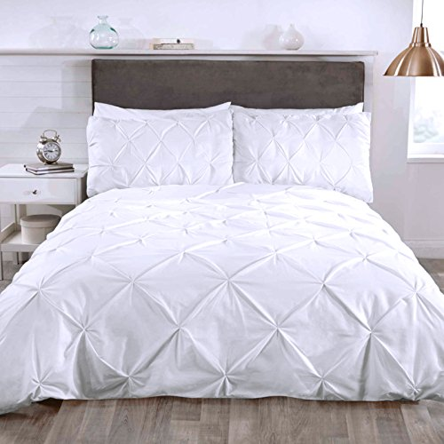 Just Contempo modernen Stil verziert Rüschen Bettbezug Set-Klassisch & Elegant Betten, Polycotton, weiß, King Size (Duvet-set Luxus-bettwäsche)