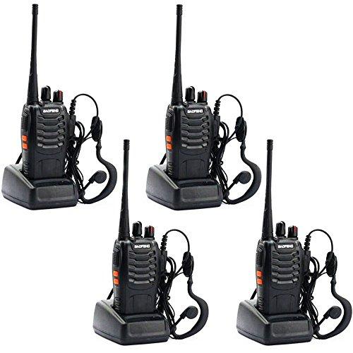 Sunreal Baofeng BF-888s Walkie Talkie 400-470MHz Radio Portable 16 Kanäle Sprechfunkgerät Two-Way Radio Handfunkgerät Wiederaufladbar Profi Taschenlampe (2 Paare)