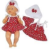 Unbekannt Puppenkleidung 3-tlg Sommer-Set für Puppe wie z.B. Baby Born bis 43 cm (ohne Puppe) (Rot)