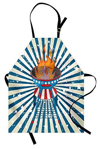 rze, Patriotische Sternen-Streifen und Old Glory Themed Grill American, Unisex Küche Latzschürze mit verstellbarem Hals zum Kochen, Backen, Garten, Vermilionblau und Eierschale ()