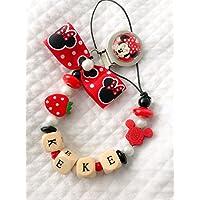 Catenella portaciuccio rosso Minnie | nome personalizzabile