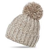 CASPAR Unisex klassische Winter Mütze/Bommelmütze/Strickmütze mit großem Bommel - viele Farben - MU087, Farbe:beige;Größe:One Size
