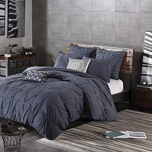 INK IVY Masie Bettbezug für King-Size-Bett/Cal King Size - Marineblau, elastische Stickerei, getuftete Rüschen, Bettbezug-Set - 3-teilig - 100% Baumwollperkal, leicht, Bettdeckenbezug - Cal-king-size-bett Bettwäsche