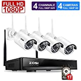ZOSI 4CH 1080P HD Wireless Security Camera System w/ 1TB Hard Drive 4x 2.0Megapixel 1080P Wifi Outdoor IP Camera 1080P Wireless CCTV Kit Support Smartphone Remote View