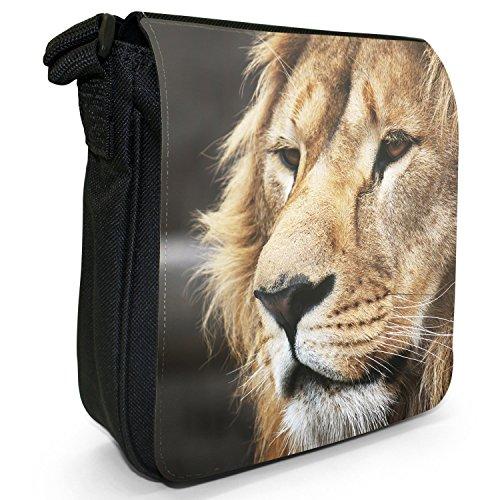 African Lion Big Cat-Borsa a tracolla in tela, piccola, colore: nero, taglia: S Nero (Lion Face)