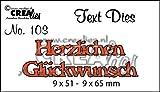 CREAlies Stanzschablone Text Deutsch Set: Herzlichen Glückwunsch 2tlg