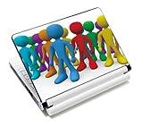 Luxburg® Design Aufkleber Schutzfolie Skin Sticker für Notebook Laptop 10 / 12 / 13 / 14 / 15 Zoll, Motiv: Bunte Männchen