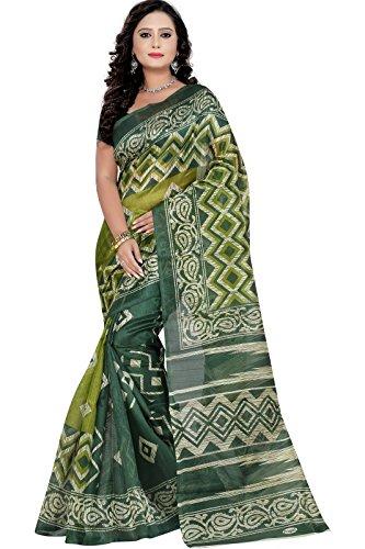 J B Fashion Women's Bhagalpuri Saree With Blouse Piece (01-_Green)