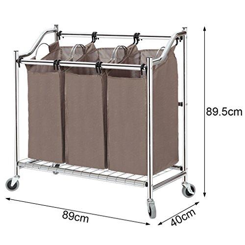 StorageManiac 3-teiliger Korb aus Stahlrohr zum Sortieren von Wäsche, 89x40x89,5cm - 2
