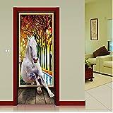 Tür Aufkleber 3D Simulation Effekt oder Das Weiße Pferd Herbstlaub Tier Wandaufkleber Für Kinderzimmer Kinder Schlafzimmer Wandkunst 77X200 cm